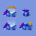 Blue cartoon colorful isometric gift boxes set with bonus. Royalty Free Stock Photo