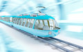 Blue cartoon futuristic train speed in childish style rides on a tunnel Stock Photography