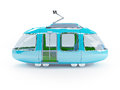 Blue cartoon tram one wagon side view d in childish style Royalty Free Stock Photos