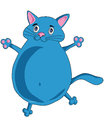 Blue cat dancing and smiling Royalty Free Stock Images