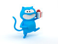 Blue cat with gift cartoon a on a white background d image Stock Image