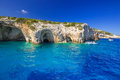 Blue caves at the cliff of Zakynthos island Royalty Free Stock Photo
