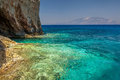 Blue caves with Kefalonia view Royalty Free Stock Photo