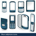 Blue cellphone icons Stock Photos