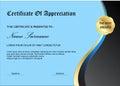 Blue certificate diploma award template simple with simle design black color Stock Image