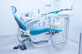 Blue chair dentist office wait for use Royalty Free Stock Photography