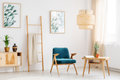Blue chair in living room Royalty Free Stock Photo