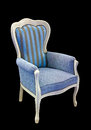 Blue chair striped wooden isolated on black background Royalty Free Stock Photo