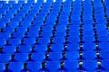 Blue chair temporary stadium rows of seats Stock Photo