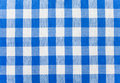 Blue checked fabric tablecloth Stock Photos
