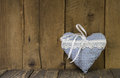 Blue checked heart - handmade of fabric - symbol for love. Stock Photo