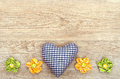 Blue checked heart of love on a greeting card Royalty Free Stock Photography