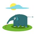 Blue cheerful elephant standing on the lawn vector illustration eps Stock Images
