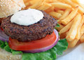 Blue cheese burger Royalty Free Stock Photo