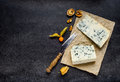 Blue Cheese Gorgonzola on Copy Space Royalty Free Stock Photo
