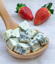Blue cheese and strawberry Stock Image