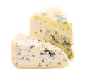 Blue cheese two segments of isolated on white background with clipping path Stock Images