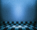 Blue Chessboard Mosaic Room Background Stock Photo