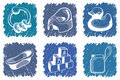 Blue children's icons Stock Image