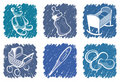 Blue children's icons Royalty Free Stock Images