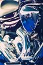 Blue chopper motorcycle engine Stock Photo