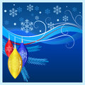 Blue christmas background with decorations and snowflakes Stock Photography
