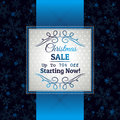 Blue christmas background and label with sale offe offer vector illustration Royalty Free Stock Photography