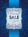 Blue christmas background and label with sale offe offer vector illustration Royalty Free Stock Images