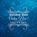 Blue christmas background with label for sale vec vector illustration Royalty Free Stock Photography