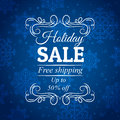 Blue christmas background with label for sale, vec Royalty Free Stock Photo