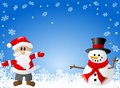 Blue christmas background with santa claus and a s vector illustration of snowman Stock Photography