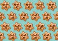 Blue Christmas background. Seamless gingerbread pattern. Winter holidays ornament. White gingerbread cookies minimalistic Royalty Free Stock Photo