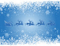 Blue Christmas background with snowflakes and Sant Royalty Free Stock Image