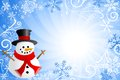 Blue christmas background with a snowman vector illustration of Stock Photos