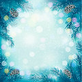 Blue christmas background with tree branches and s snowflakes vector Royalty Free Stock Photos