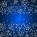 Blue christmas background with white snowflake Royalty Free Stock Photos