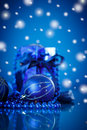 Blue christmas ball on a background Stock Image