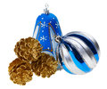 Blue christmas ball, bell and fir cones Royalty Free Stock Photo