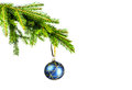 Blue Christmas ball and christmas tree Stock Photography