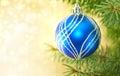 Blue Christmas Ball And Green ...