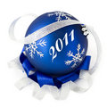 Blue christmas ball isolated 2011 Royalty Free Stock Image