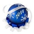 Blue christmas ball isolated 2011