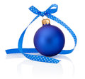 Blue Christmas ball with ribbon bow Isolated on white background Royalty Free Stock Photo