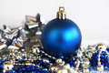 Blue christmas ball with silver and decorations on white background Stock Image