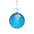 Blue Christmas ball on silver ribbon Royalty Free Stock Photo