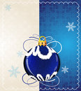 Blue christmas ball and snowflakes on a retro style background Stock Photo