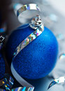 Blue christmas ball and tape ticker Stock Image