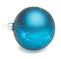 Blue christmas ball tree decoration isolated on white backrground Royalty Free Stock Photos