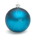 Blue christmas ball tree decoration isolated on white backrground Stock Photography