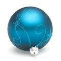 Blue christmas ball tree decoration isolated on white backrground Stock Images